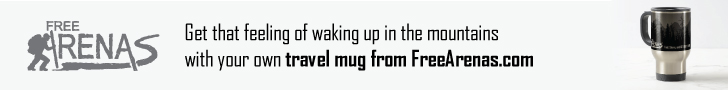 Get that feeling of waking up in the mountains with your own travel mug from FreeArenas.com